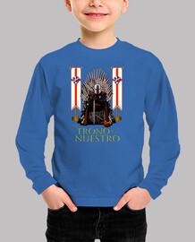 Camiseta manga corta para niño SDHuesca El Trono es Nuestro, blanca y roja