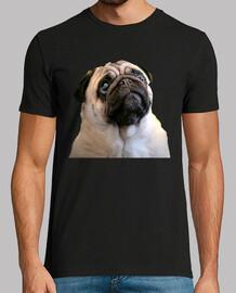 Camiseta manga corte hombre y diseño de Carita de Perro PugCarlino