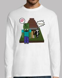Camiseta Manga Larga  Minecraft Tu Fuera Por Feo