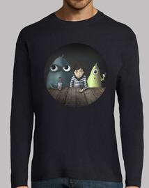 Camiseta manga larga chico Tres tipos raros varios colores