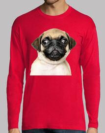 Camiseta manga larga diseño Perro Pug Carlino bebe