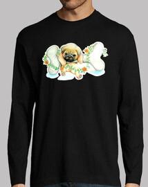 Camiseta manga larga hombre diseño Perro pug carlino con hueso
