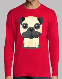 Camiseta manga larga hombre diseño Perro Pug Sentado