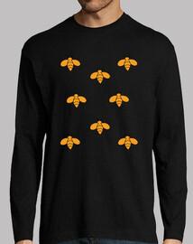 Camiseta manga larga hombre diseño abejas