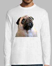 Camiseta manga larga hombre y diseño de Perro Pug Carita de Carlino