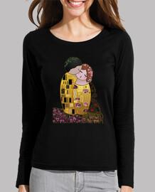 Camiseta manga larga negra Kokeshi El Beso estilo Klimt