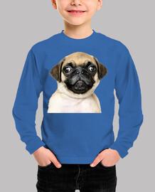 Camiseta manga larga niño diseño Perro Pug Carlino bebe