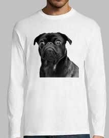 Camiseta manga larga y diseño de Perro Pug Carlino negro