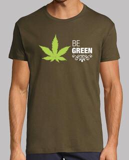 Camiseta marihuana Hombre, manga corta, army, calidad extra