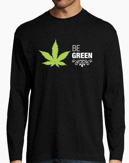 Camiseta marihuana Hombre, manga larga, negra