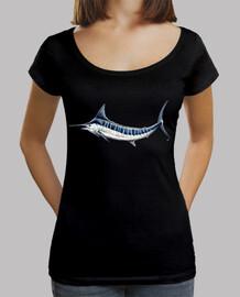 Camiseta marlin azul Mujer, cuello ancho & Loose Fit, negra
