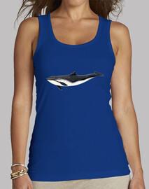 Camiseta Marsopa común - Mujer, sin mangas, azul royal