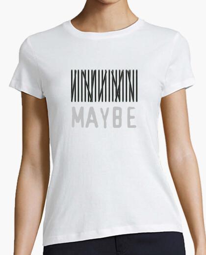 Camiseta Maybe - Mujer, manga corta, blanca, calidad premium