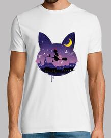 camiseta mens paseo gato medianoche