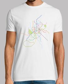 Camiseta metro Madrid Hombre, manga corta, blanco, calidad extra