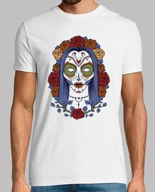 Camiseta Mexican Skull Con Rosas Retro