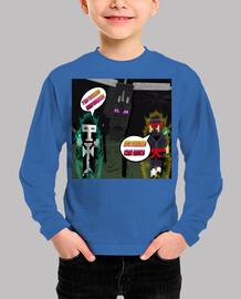 Camiseta Minecraft Para los Mas Pequeños  Luchemos Como Amigos,Hoy Como Hermanos