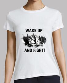 Camiseta MMA mujer, manga corta, blanca, calidad premium