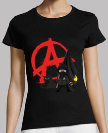 camiseta mujer - anarquía bloque negro gato