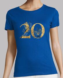 Camiseta mujer 20 años dorado de manga corta