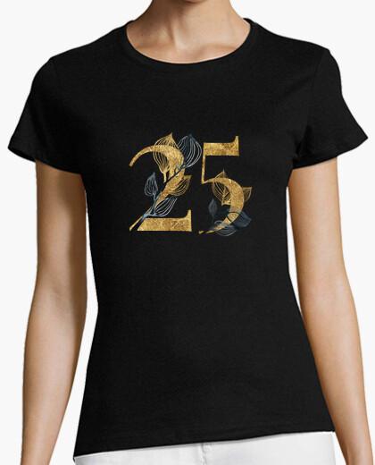 Camiseta mujer 25 años dorado con manga corta