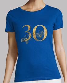 Camiseta mujer 30 años dorado de manga corta