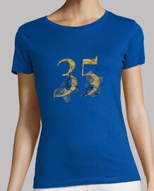 Camiseta mujer 35 años dorado con manga corta