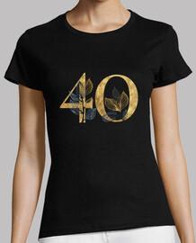 Camiseta mujer 40 años dorado con manga corta