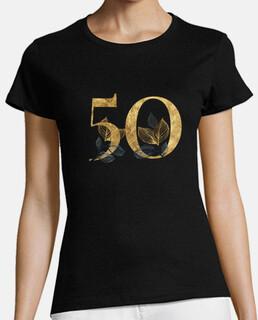 Camiseta mujer 50 años dorado con manga corta