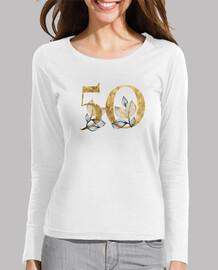 Camiseta mujer 50 años dorado de manga larga