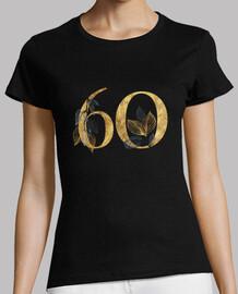 Camiseta mujer 60 años dorado de manga corta