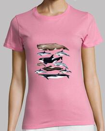 Camiseta mujer Ballenas, cachalotes y delfines