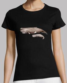 Camiseta mujer Cachalote con cría