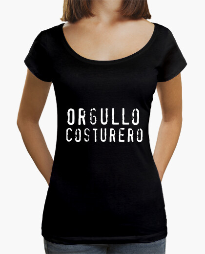 Camiseta Mujer, cuello ancho & Loose Fit, negra
