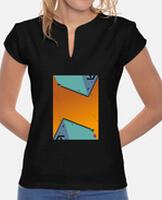 Camiseta mujer, cuello estilo Mao