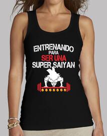camiseta mujer entreno super saiyan goku