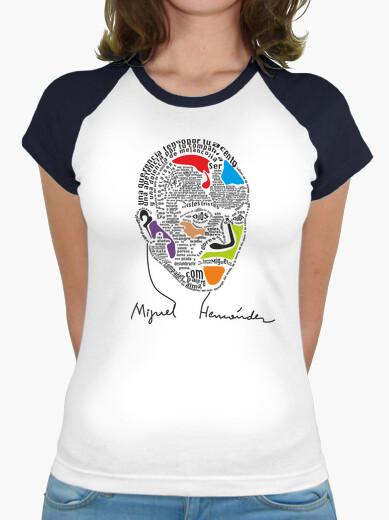 Camiseta Mujer, estilo béisbol, blanca y turquesa