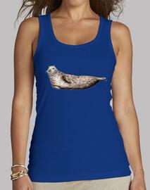 Camiseta mujer foca gris