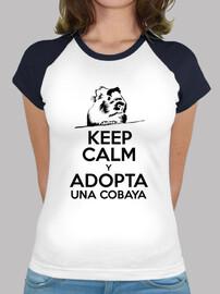 Camiseta mujer Keep calm y adopta una cobaya BICOLOR