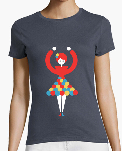 Camiseta Mujer, manga corta, gris oscuro,...