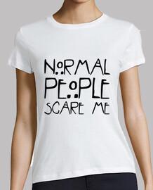 Camiseta mujer manga corta logo 'Normal people scare me'