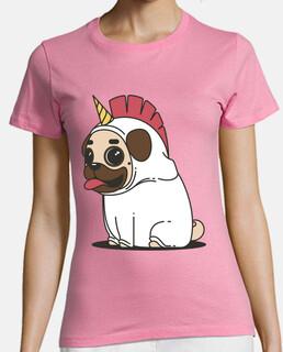 Camiseta mujer Perro Carlino Unicornio Pug