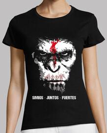 Camiseta mujer Simios juntos fuertes