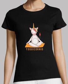 Camiseta Mujer Unicornio Meditando - Yoga Original