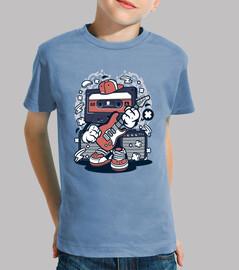 Camiseta Musical Cartoon Retro Cassette