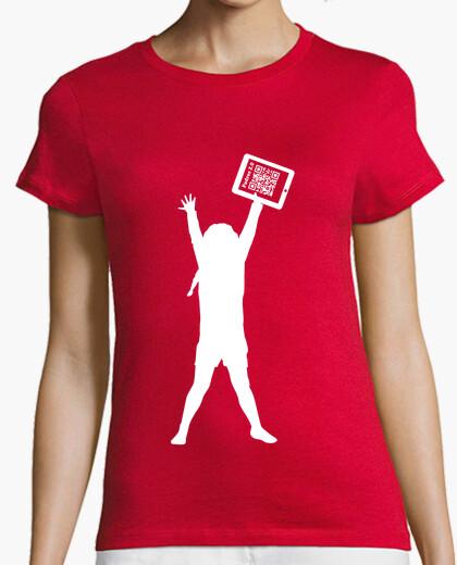 Camiseta naranja solidaria chica - La niña de la tablet