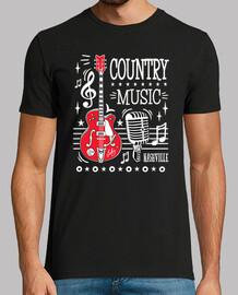 Camiseta Nashville Tennessee Country Music Rockabilly Guitarra Rock N Roll USA