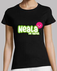 Camiseta Neala de Nadur - Mujer, manga corta, negra, calidad premium