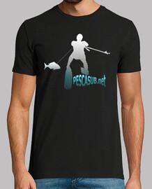 Camiseta negra - Silueta blanca azul