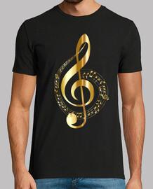 Camiseta Negra Clave de SOL en dorados, ilustración